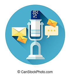 Microphone With Envelope Web Mail Icon