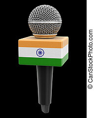 Microphone with Indian flag. Image with clipping path