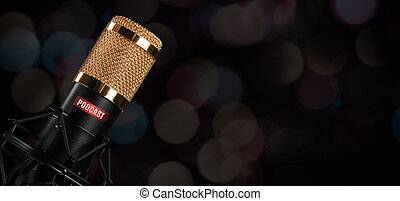Microphone with podcast label. Copy space