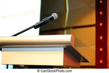 microphone with podium at seminar