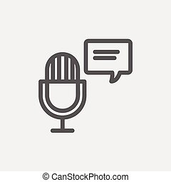Microphone with speech bubble thin line icon