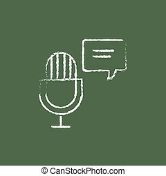 Microphone with speech square icon drawn in chalk.