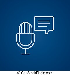 Microphone with speech square line icon.