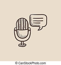 Microphone with speech square sketch icon.
