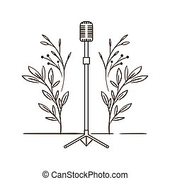 microphone with stand on white background