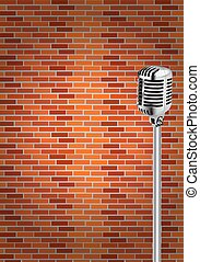 Microphone with wall background