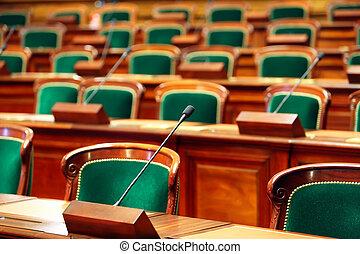 microphones., congres, ouderwetse , zetels, zaal, lege