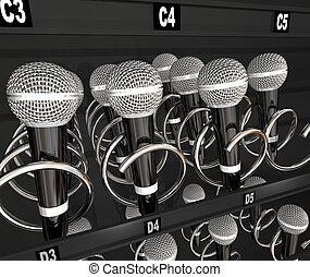 microphones, encas, vente, concurrence, machine, talent,...