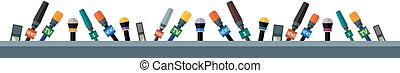 microphones - Set of flat border with microphones and...