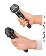 Microphones in hands. Interviewer equipment news audience ...