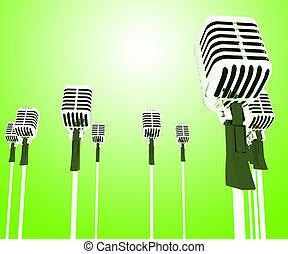 Microphones Mics Shows Musical Group Or Concert