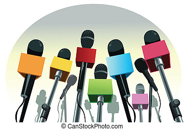 Microphones on the podium - A vector illustration of...