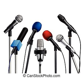 Microphones Press Conference Set - Different muiltcolored...