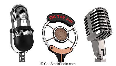 Retro microphones over white - 3d render illustration