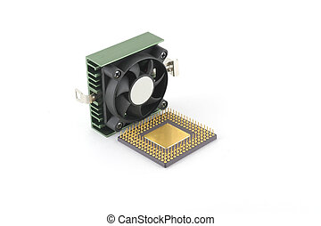 Microprocessor and fan over white