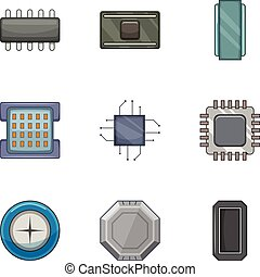 Microprocessor chip icons set, cartoon style -...