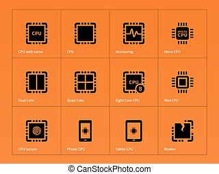 Microprocessor icons on orange background. Vector...