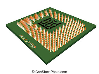 microprocessor isolated on white background. 10 EPS