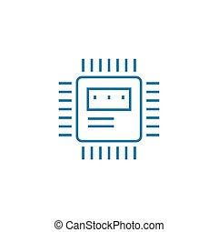 Microprocessor linear icon concept. Microprocessor line...