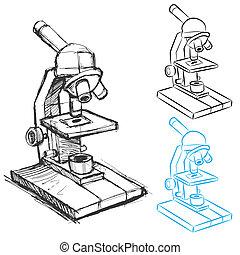 microscópio, jogo, desenho