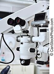 microscoop, in, tandkundige werkkring