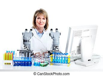 microscoop, vrouw, laboratory., werkende