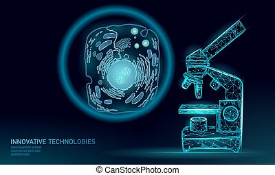 Microscope artificial cell synthesis animal human designer cell biochemistry. Engineering GMO research concept. Macro close zoom future education technology vector illustration eukaryotic