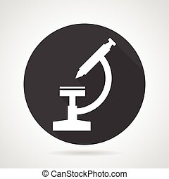 Microscope black round vector icon