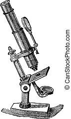Microscope Compose, vintage engraved illustration. Trousset encyclopedia (1886 - 1891).