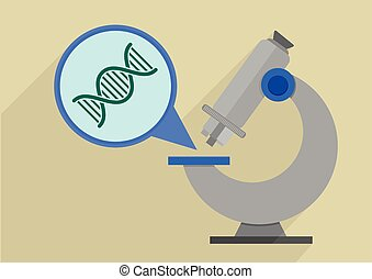 microscope dna - retro flat style illustration of a...