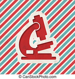 Microscope Icon on Retro Striped Background.