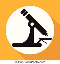 Microscope Icon on white circle with a long shadow