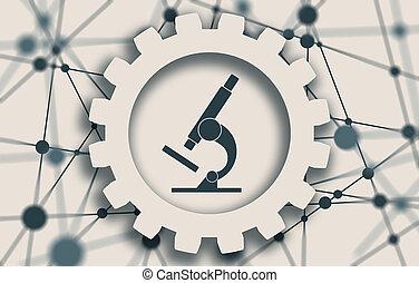 Microscope icon. Style is flat symbol
