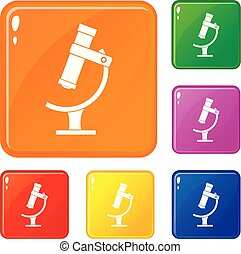 Microscope icons set vector color