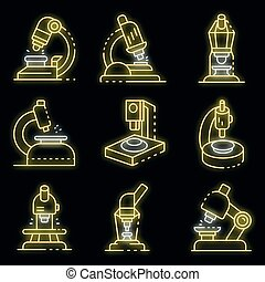 Microscope icons set vector neon