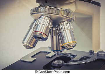 Microscope in scientific and healthcare research laboratory