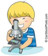 Microscope Kid - A Beaming Boy Inspecting a Specimen Through...