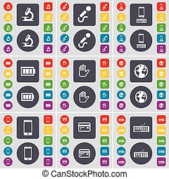 Microscope, Microphone, Smartphone, Battery, Hand, Earth, Smartphone, Credit card, Keyboard icon symbol. A large set of flat, colored buttons for your design. Vector