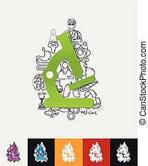 microscope paper sticker with hand drawn elements