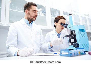 microscope, presse-papiers, laboratoire, scientifiques