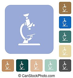 Microscope white flat icons on color rounded square backgrounds