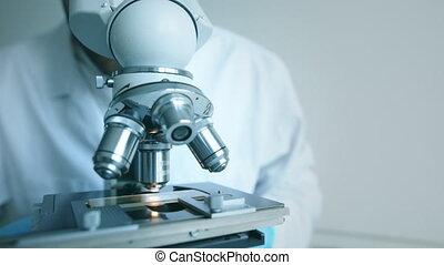 microscope, scientifique, regarde