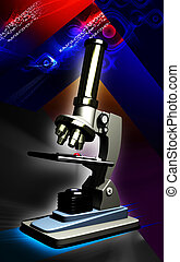 Microscope - Digital illustration of microscope in colour...