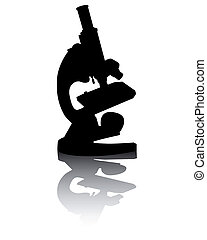 microscope with reflection - Silhouette of a microscope with...