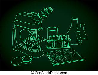 microscopio, equipments, laboratorio