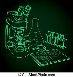 microscopio, laboratorio