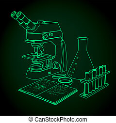microscopio, prueba, experimentos, tubos, laboratorio