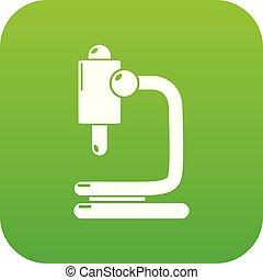 microscopio, vettore, verde, icona