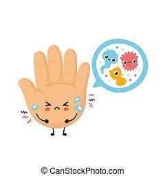 microscopique, bacterias, triste, mignon, main humaine