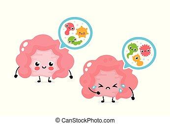 microscopique, intestin, microflora, bacterias